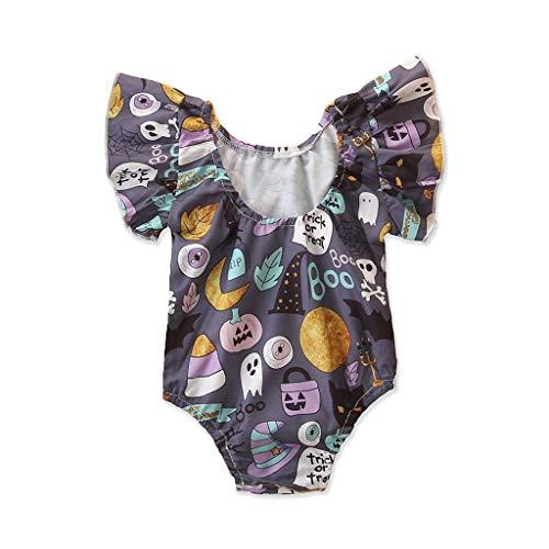 Romantic Baby Kleidung Jungen Mädchen Fliegender Ärmel Strampler Neugeborenen Overall Unisex Baby Strampler mit Halloween-Thema Aufdruck Baby-Strampler für Jungen, Mädchen (1950er Themen Kostüm)