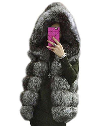 Mujeres Abrigo Chaleco Faux Pelaje Blusa Capucha Coat Jacket Cardigans Outwear Vest...