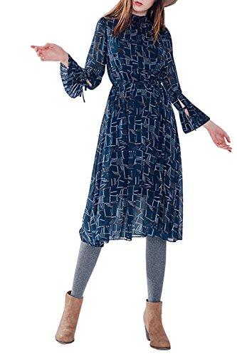Babyonlinedress Femme Robe Courte à l'Impression avec Manches Longues en Mousseline Marine Foncé