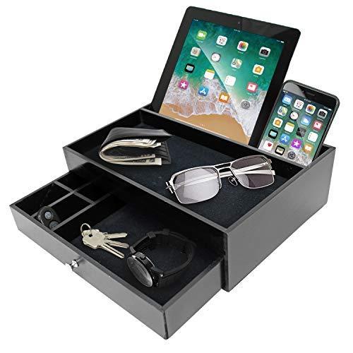 Schlüsselablage für Herren - Nachttisch Catchall Tablett als schwarzes Holz Herren Jewerly Uhrenbox Organizer Valet Stand für Eingang oder Kommode - Tablet & Handy Ladestation - tolle Geschenkidee -