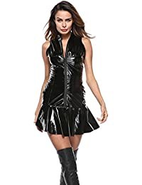 TANKASE Femmes Sexy Lingerie Wetlook en Cuir Mini Robe Backless Clubwear  Vêtements de Nuit Nuisette Cuir c4bdb101384