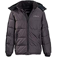 DKNY Boys' Heavyweight Polar Fleeced Lined Puffer Bubble Jacket with Hood, Size X-Large/18-20, Charcoal/Black'