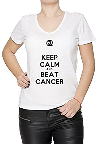 Keep Calm And Beat Cancer Blanc Coton Femme V-Col T-shirt Manches Courtes White Women's V-neck T-shirt