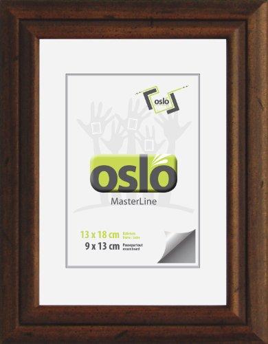 OSLO MasterLine Bilderrahmen 13x18 dunkel braun Holzrahmen, Echt-Glas, Antikoptik, zum Aufhängen und Stellen Vintage, Echtholz-Rahmen Foto (Dunkle Holz-bilderrahmen)