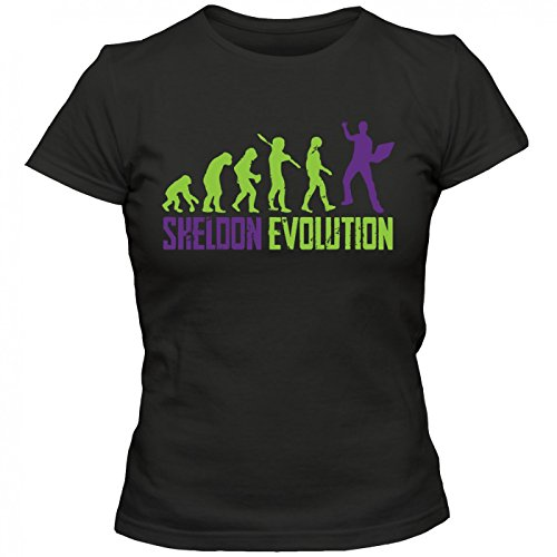 Sheldon Evolution #1 T-Shirt | TBBT | Big Bang | Sitcom | Frauen | Shirt © Shirt Happenz Schwarz (Deep Black L191)