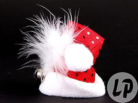 Weihnachtsmannmütze klein mit Haarklammer und Glocke