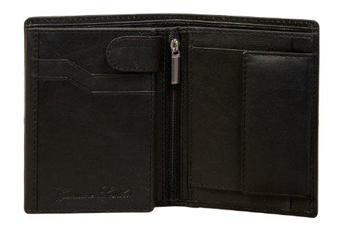 Sakkas Unisex authentisch Leder Tri-Fold Antique Geldbörse mit 9 Kreditkarten Schlitzen (Schwarz) (Coin Tri-fold Wallet)