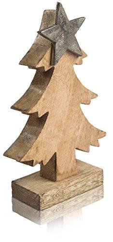 CHICCIE Tannenbaum aus Mangoholz mit Metall Stern - 22cm - Weihnachten Deko