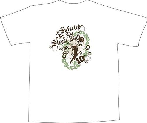T-Shirt E334 Schönes T-Shirt mit farbigem Brustaufdruck - Logo / Grafik - abstraktes Design / Explosion und Streetball / Spieler / Musik Weiß