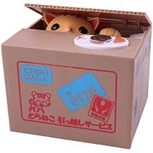Yoobox - Hucha electrónica, diseño de gato ladrón en caja de cartón, color amarillo