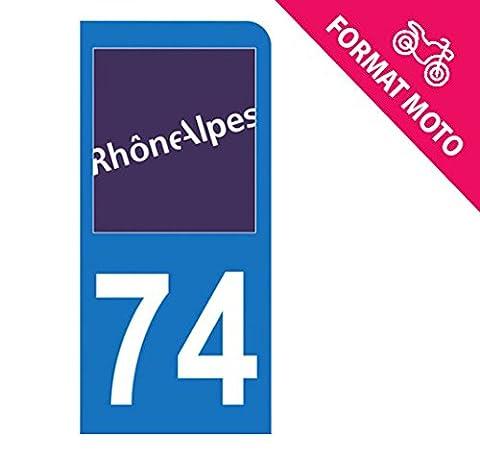 Autocollant Moto immatriculation 74 - Haute Savoie