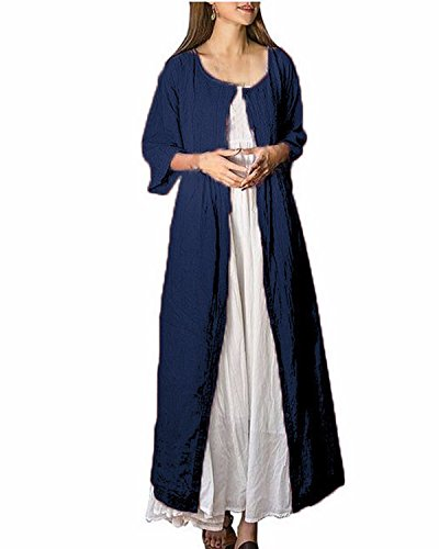 ZANZEA Damen Vintage Jahrgang Langarmel Unregelmäßig Wasserball Boho Lose Maxi Kleid+Outwear Marine#