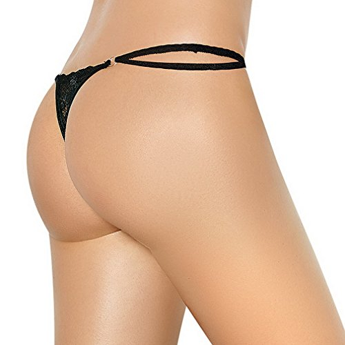 Lukis Damen V-string Slip Mini String Tanga OuvertPanty Dessous Schwarz