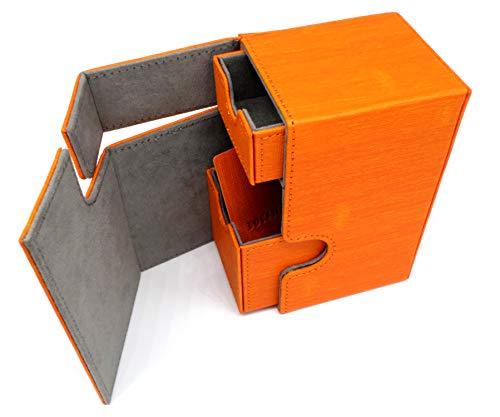 docsmagic.de Premium Magnetic Tray Box (100) Orange + Deck Divider - MTG - PKM - YGO - Kartenbox -