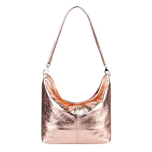 OBC Made in Italy Damen echt Leder Tasche Shopper Metallic Handtasche Hobo-Bags Schultertasche Henkeltasche Ledertasche Damentasche City Bag (Rosa-Metallic)