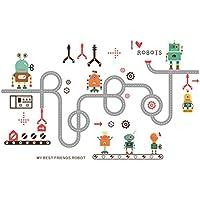 LETAMG Pegatinas de pared Robot De Dibujos Animados Coche Pegatinas De Pared para Niños Habitación Niño