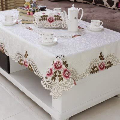 hokkk Home Hotel Dining Hochzeit weiß rot Tischdecke mit Spitze Bestickt Floral rechteckige Tischdecke zum Tisch deckt 57x118cm Farbe 2