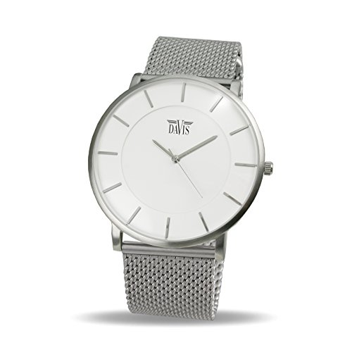 Davis 0911MB - Mens Womens Design Ultra Thin Watch White Dial Mesh Milanese Strap