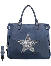 4fd7287e7f864 CRAZYCHIC - Damen Große Tote Handtasche - Stern Pailletten Shopper -  Schultertasche Hobo Bag…