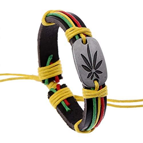 SHOUAQI lederarmband für männer Handmade Femme Homme Weibliche Vintage Weave Maple Leaf Frieden Charme Männer Lederarmbänder Für Frauen Schmuck Zubehör
