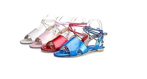 Beauqueen Sandalen Frauen Frühling und Sommer flache Handgelenk Armband weiblich rosa weiß rot blau Casual Urlaub Schuhe spezielle Größe Europa Größe 34-48 , blue , 46 (not (Rosa Pebbled Leder)