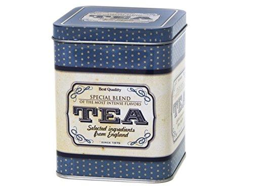Quality Lata de Almacenamiento para té o Cocina con bisagras cuadradas, Estilo Retro, 200 g, 11 cm