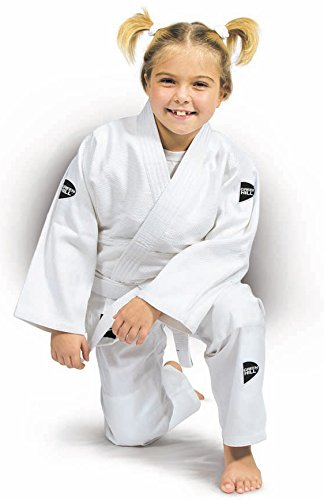 Judo Suit Kid with Black and Green Logo (White/Black, 120)