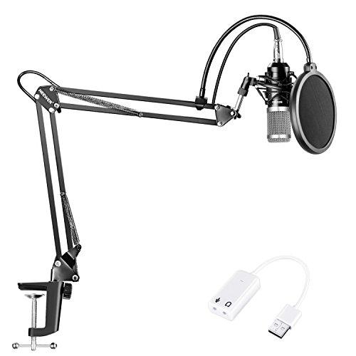 Neewer NW-800 Kondensatormikrofon (Schwarz,Silber) Set mit USB Soundkartenadapter Scherenarm Ständer Shock Mount Pop Filter für Studioaufnahmen Broadcast YouTube Live Periskop