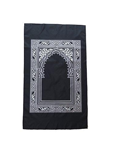 mekkaMedina TOP QUALITÄT islamischer Gebetsteppich Reiseteppich Outdoorteppich für unterwegs mit Kompass Prayer Rug Muslim Teppich WASSERDICHTES MATERIAL … (schwarz)