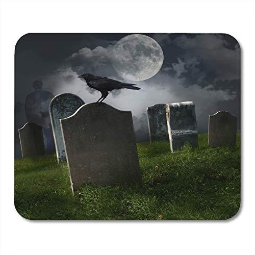 Deglogse Gaming-Mauspad-Matte, Graveyard Halloween Cemetery Old Gravestones Moon and Black Raven Mouse Pad, Desktop Computers mats