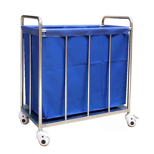 Hotel Wäschewagen Blauer Hotel-Rollen-Wäscherei-Sortierer-Wagen auf Rädern, Hochleistungslobby-Korrektor-Leinenwagen mit entfernbarem waschbarem Bezug -