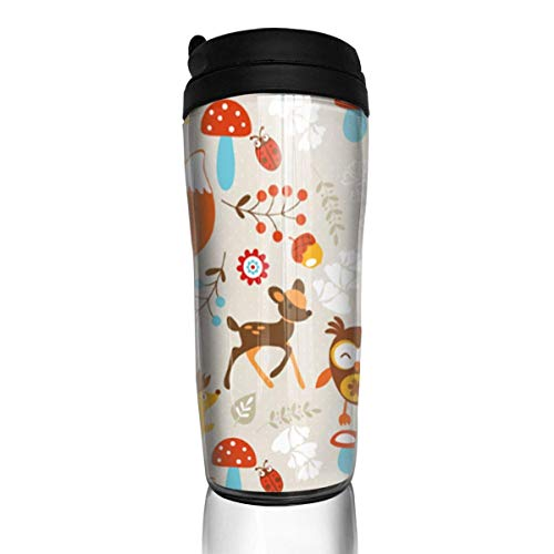 Travel Coffee Mug Woodland Creatures 12 Oz Spill Proof Flip Lid Water Bottle Environmental Protection Material ABS