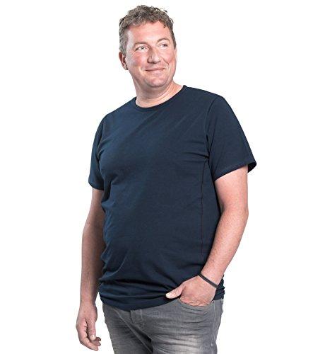Maglietta per uomo girocollo, pacco da 2, T-Shirt collo rotondo, 1XL-8XL, 2 pack T-shirt appositamente progettato per gli uomini oversize | Mezzo 112-178 cm (2XL-B, Blu)