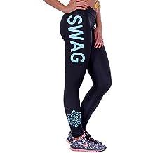 Bigood Femme Pantalon Leggings Yoga Collant Imprimé Lettre Elastique  Slimmer de Sport ea5a536e1471