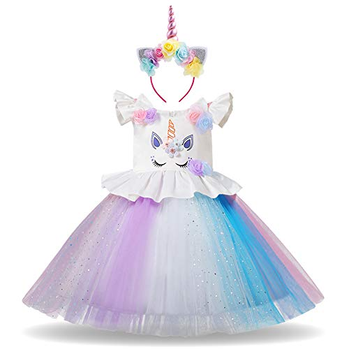 Baby Mädchen Einhorn Regenbogen Geburtstag Kleid Halloween Kostüm für Kinder Blumenmädchenkleid Hochzeit Festzug Prinzessin Tutu Ankleiden Karneval Performance Cosplay Mehrfarbig 6-7 Jahre
