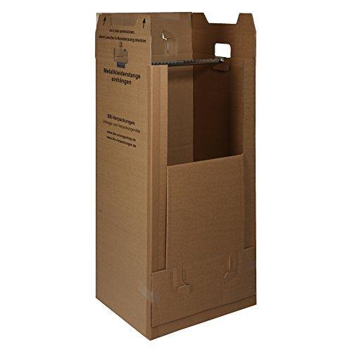 3 neue Kleiderboxen 600 x 510 x 1350 mm / Qualität: 2.60 BC (doppelwellig) / inkl. Kleiderstange / für Umzug Kleider Transport Verpackung Karton Kiste Kleidung - Ge Kleidung