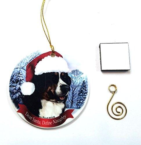 Hund Weihnachten Ornament 7,6cm Porzellan mit Geschenkbox mit Baum Haken und Magnet Pet Urlaub Dekoration Bundle von Impressum Plus (Ho 001) Bernese Mt Dog Holiday