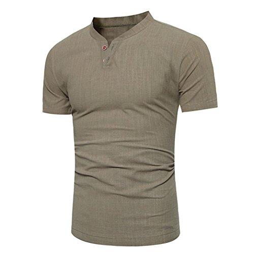 MRULIC Herren T-Shirts Rundhals Basic Kurzarm Shirt Top Oversize Crew Neck Vintage(Grün,EU-50/CN-2XL)