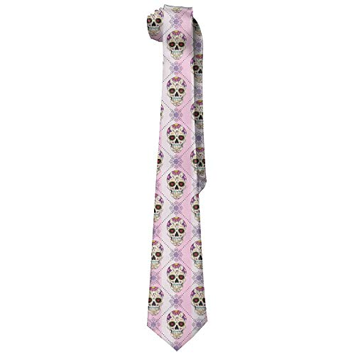 Integrity merchant Men's Tie Sugar Skull Pink Long Necktie Skinny Neckwear Silk
