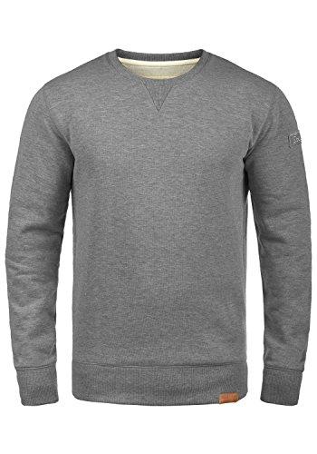 !Solid Trip O-Neck Herren Sweatshirt Pullover Pulli Mit Rundhalsausschnitt Und Fleece-Innenseite, Größe:M, Farbe:Grey Melange (8236) -
