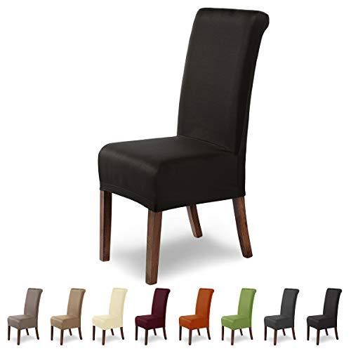 SCHEFFLER-Home Marie 2 Fundas de sillas, Estirable Cubiertas hidrófugo, extraíble Funda con Banda elástica, Marrón