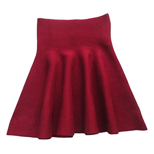 Mengonee Women Elastic High Waist Solid Plaid Pleated Skirt Knitting Mini Skirt