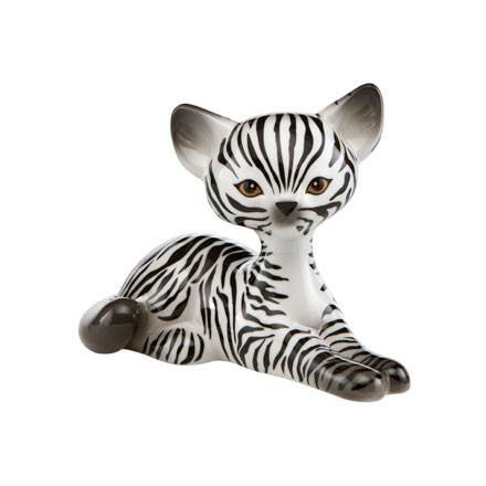 Goebel Kitty de Luxe Zebra Kitty Relaxing 15.00 x 8.50 x 10.50 cm, Bunt Luxe Zebra