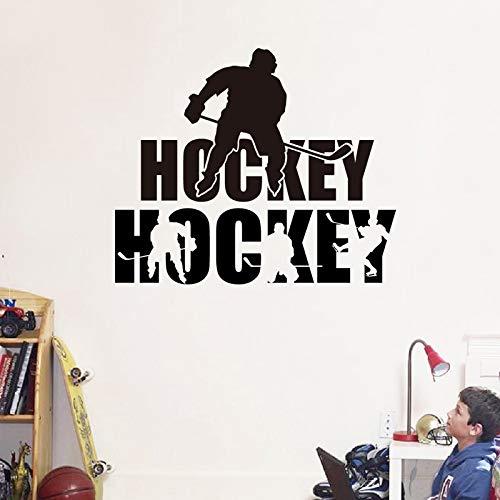 WWYJN Hockey Clip Silhouette Vinyl Wall Art Sticker Kids Room Decor Removable Hockey Exercise Sports Decals Boys Room Decoration Black 90x76 cm