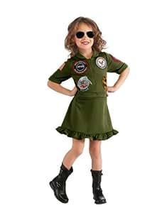 """Top Gun Costume, Kids Top Gun Flight Dress Girl Outfit, Small, Age 3 - 4, HEIGHT 3' 8"""" - 4'"""