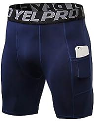 Shengwan Pantalones Cortos de Compresión Hombre Térmicos Correr Gimnasio Mallas Cortos con Bolsillo Armada L