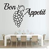 Französisch Wort Bon Appetit Wand Trauben Zitate Tapete PVC Wandaufkleber Küche Esszimmer Abnehmbare 3D Wanddekoration Für Haus 59X43 cm