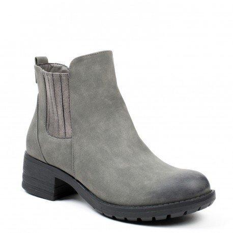 Ideal Shoes - Bottines style chelsea en similicuir Vastina Gris