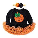 K-youth Vestidos Bebe Niña Bautizo, Ropa Bebe Recien Nacido Niña Bebé Mono Halloween 2018 Ofertas Otoño Invierno Vestido Bebe Ceremonia Tutu Princesa Vestido de niñas(Negro-2,0-3 Meses)