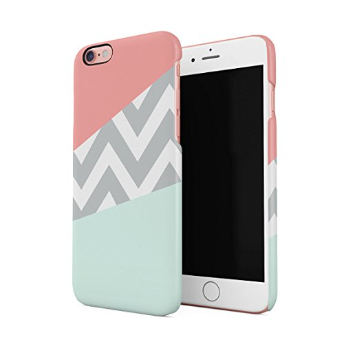 Mint And Coral Pink Chevron Blocks Dünne Rückschale aus Hartplastik für iPhone 6 & iPhone 6s Handy Hülle Schutzhülle Slim Fit Case cover (Tinte Mint)
